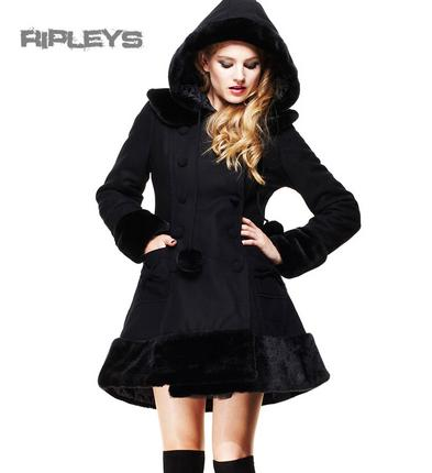 HELL BUNNY Black Long SARAH JANE COAT Winter Faux Fur All Sizes